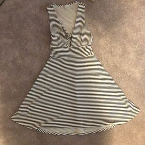 Skate dress- low cut black and white strip